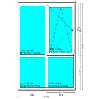 Вікно, PERFECT Tytanium W 6-к, 2540x1769